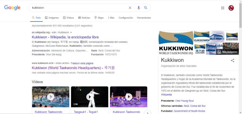 Vista de como Google muestra la información de Kukkiwon de forma destacada